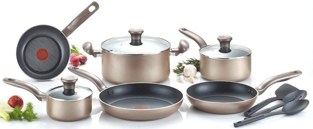 T-fal C067SC Metallics Nonstick Cookware Set