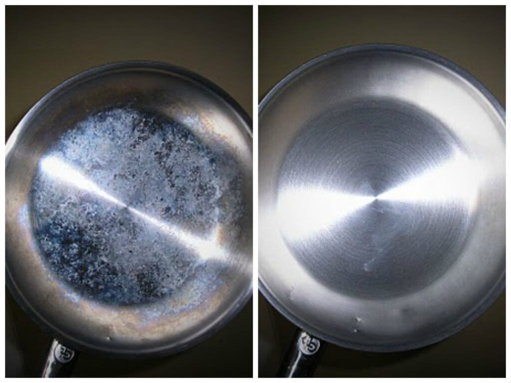 how to clean stainless steel pan